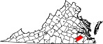 State map highlighting Sussex County