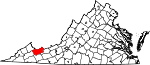 State map highlighting Tazewell County
