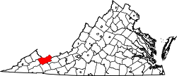 Tazewell County, Virginia  Comitatul Tazewell pe harta statului Virginia