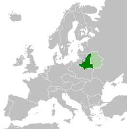 Western Belorussia in 1925 shown in dark green and the Belorussian Soviet Socialist Republic shown in light green