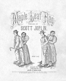 First edition cover of the Maple Leaf Rag shows a line drawing of two African-American couples dancing underneath the title Maple Leaf Rag