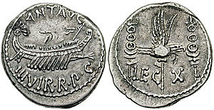 Legio X Equestris - Image: Marc Antony Leg X denarius RSC 0038