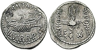 Legio X Equestris - Denarius issued by Mark Antony celebrating Legio X