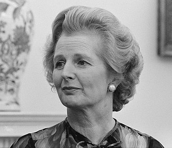 Margaret Thatcher shortly before becoming the United Kingdom's first woman Prime Minister in 1979. Thatcher's political and economic agenda began the first government committed to neoliberalism. Margaret Thatcher at White House.jpg