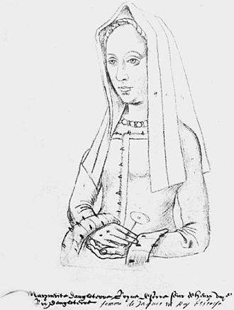 "The Thrissil and the Rois -  Princess Margaret of England sketched by an unknown artist. ""Recueil d'Arras"", sixteenth century."