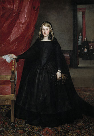 Las Meninas - The Infanta Margaret Theresa (1651–73), in mourning dress for her father in 1666, by Juan del Mazo. The background figures include her young brother Charles II and the dwarf Maribarbola, also in Las Meninas. She left Spain for her marriage in Vienna the same year.