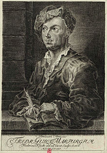 Friedrich Wilhelm Marpurg, German musicologist in the Age of Enlightenment. Etching by Berol after a drawing by Friedrich Kauke (1758). (Source: Wikimedia)