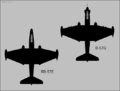 Martin RB-57E and B-57G Canberra top-view silhouettes.png