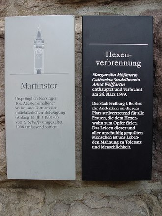 History of Freiburg - Martinstor Freiburg - Memorial plaque for the victims of the witch trials.