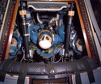 Apollo 9 - McDivitt, Scott and Schweickart train for the AS-258 mission in the first block II Command Module, wearing early versions of the block II pressure suit