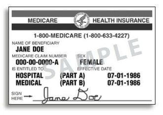 Medicare (United States) - A sample Medicare card.  There are separate lines for basic Part A and Part B's supplementary medical coverage, each with its own date.  There are no lines for Part C or D, for which additional supplemental policies are issued with a separate card.