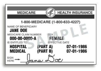 Medical Care Card USA Sample