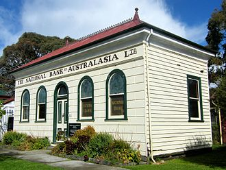 Meeniyan, Victoria - The former Meeniyan National Bank of Australasia, now located at Old Gippstown in Moe