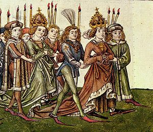 Elizabeth of Luxembourg - Elizabeth (left) and Barbara (right) in procession to Constance Cathedral, as illustrated in the Chronicle of the Council of Constance, c. 1440. Both mother and daughter are depicted wearing the Holy Crown of Hungary; in reality, Elizabeth was crowned two decades after the Council.