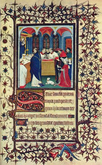Illuminated manuscript - The decoration of this page from a French Book of Hours, c. 1400, includes a miniature, initials and borders
