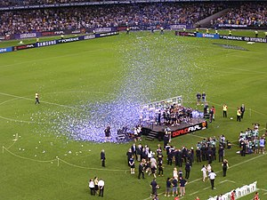 A-League - Melbourne Victory celebrating after their 2007 A-League Grand Final victory.
