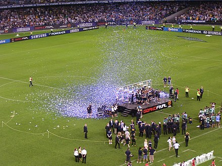 Melbourne Victory celebrating after their 2007 A-League Grand Final victory. Melbourne Victory 2007 A-League Grand Final.jpg