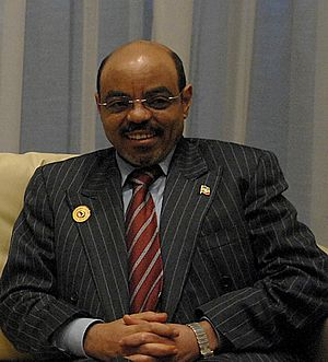 Meles Zenawi, Prime Minister of Ethiopia at a ...