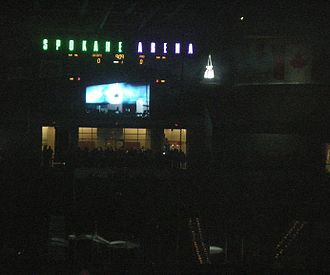 Spokane Chiefs - The Chiefs lower the Memorial Cup via rope, from the roof of the Spokane Arena on Opening Night 2008. Four months earlier, the Cup broke in the Chiefs hands during the celebration in Kitchener, Ontario.