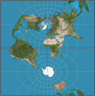 Transverse Mercator projection - Spherical transverse Mercator (truncated at x = ±π in units of Earth radius).