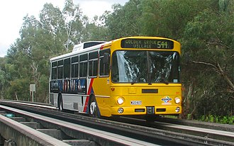 Mercedes-Benz O305 buses travelling on O-bahn in Adelaide, Australia Mercedes-Benz O 305 on guided busway in Adelaide.jpg