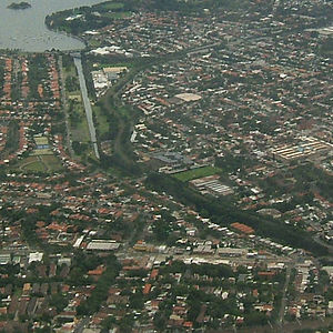 Leichhardt, New South Wales - Aerial view of the Metropolitan Goods railway line, which has been converted to light rail