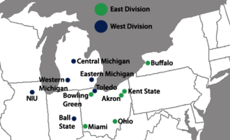 Mid-American Conference - Locations of the full members of the Mid-American Conference.