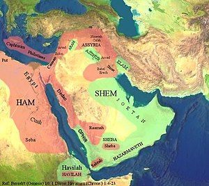 Melchizedek - Middle Eastern land distribution demonstrating the land of Canaan governed by Cham