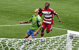 Miguel Montano of Seattle Sounders and Jair Be...