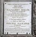 Miklós Mazsaroff Plaque, Miskolc.jpg