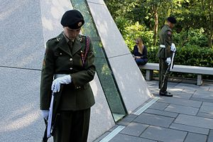 Merrion Square - Soldiers guard the site of the National Memorial to members of the Defence Forces who died in the Service of the State