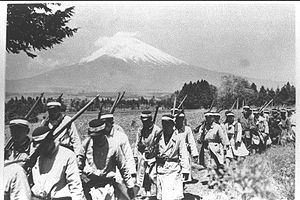 Education in the Empire of Japan - Military training courses at Keio University in 1937 or 1938