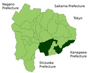 Minamitsuru District, Yamanashi - Map of Minamitsuru District in Yamanashi Prefecture