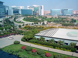 HITEC City, the hub of information technology companies MindSpace campus in Hyderabad, India.jpg