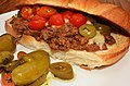 Mmm... ground beef and cheese with pickled peppers and cherry tomatoes (7810283802).jpg