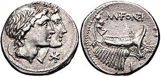 Fonteia (gens) - Denarius of Manius Fonteius, 108-107 BC.  The obverse depicts the heads of the Dioscuri. The reverse reuses Telegonus' galley as on the denarius of Gaius Fonteius.