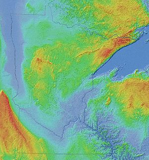 Geology of Minnesota - Shaded relief image: Superior Upland in the northeast, the flat Red River Valley in the northwest, Central Minnesota's irregular landscape, the Coteau des Prairies and Minnesota River in the southwest, and the southeast's dissected Driftless Area along the Mississippi River below its confluences with the Minnesota and St. Croix in East Central Minnesota