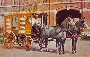 George Weston Limited - Decorative bread wagon, Model Bakery Co., postcard, Toronto, ca. 1908.
