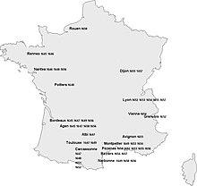 Carte de France où sont identifiés les divers lieux où a séjourné la troupe de Molière