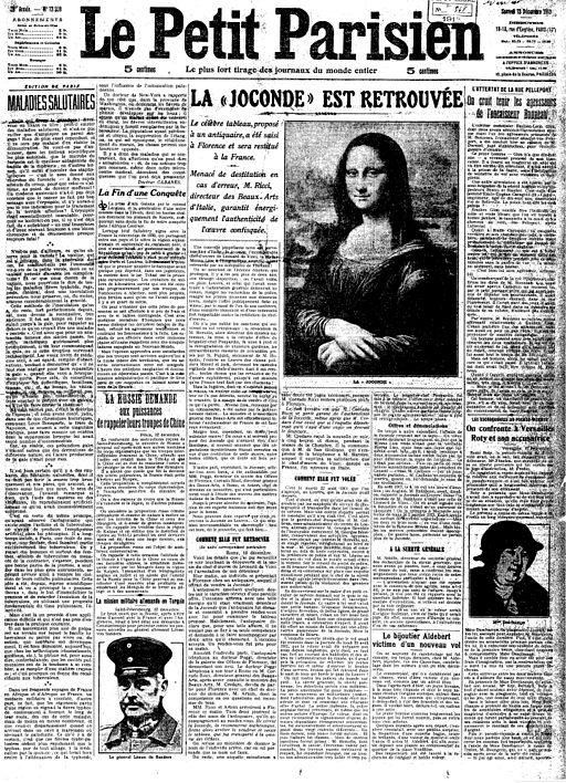 Mona Lisa Found, La Joconde est Retrouvée, Le Petit Parisien, Numéro 13559, 13 December 1913