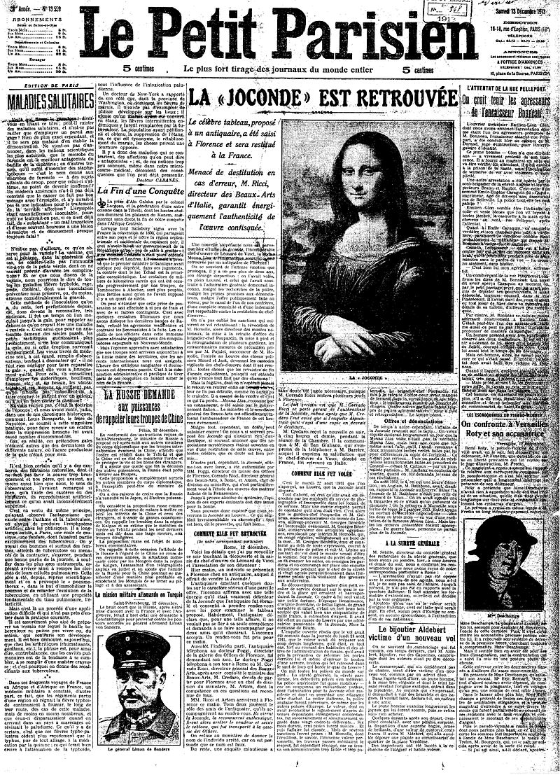 Mona Lisa Found, La Joconde est Retrouv%C3%A9e, Le Petit Parisien, Num%C3%A9ro 13559, 13 December 1913.jpg