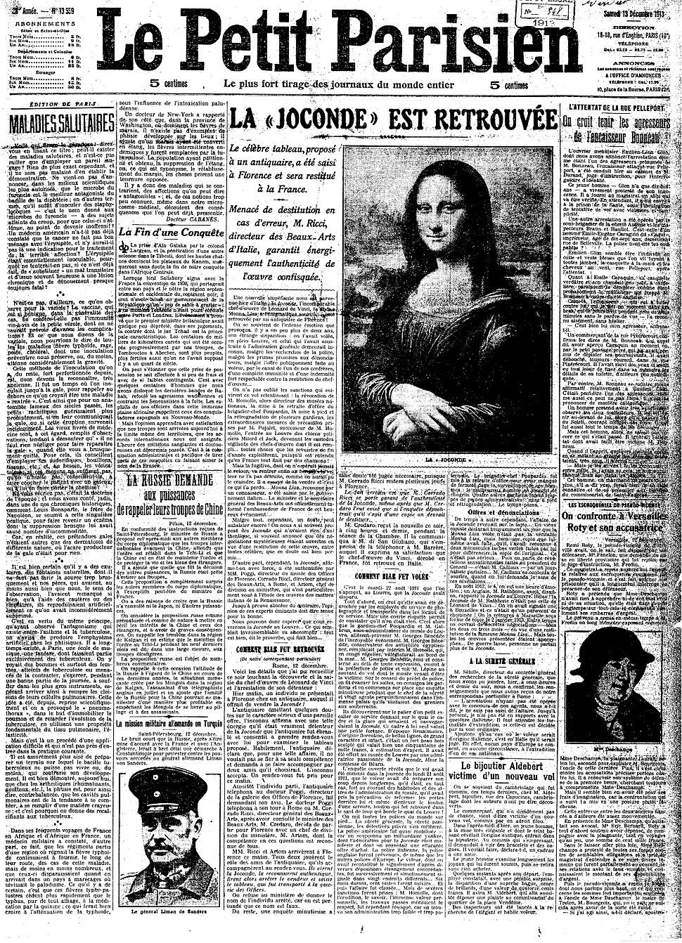 Mona Lisa Found, La Joconde est Retrouv%C3%A9e, Le Petit Parisien, Num%C3%A9ro 13559, 13 December 1913