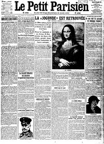 """La Joconde est Retrouvée"" (""Mona Lisa is Found""), Le Petit Parisien, 13 December 1913"