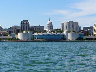 Monona Terrace - Part of the Madison skyline as seen from Lake Monona, with Monona Terrace in the middle and the capitol directly behind it.