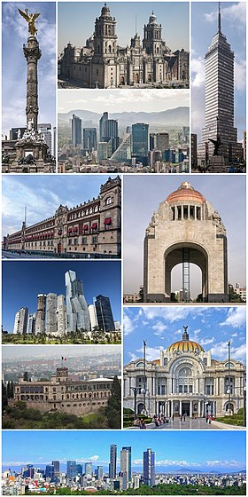 Do topo à esquerda: El Ángel de la Independencia, Catedral Metropolitana, zona financeira do Paseo de la Reforma, Torre Latinoamericana, Palácio Nacional, zona financeira de Polanco, Castelo de Chapultepec, Monumento a la Revolución, o Palacio de Bellas Artes e panorâmica da parte central