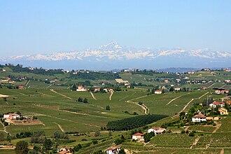 Montferrat - A landscape in Montferrat: view from San Marzano Oliveto, Astesan Montferrat, towards Monviso.