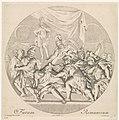 Moord op Julius Caesar Fatum Romanorum (titel op object) Bijbelse, mythologische en allegorische voorstellingen (serietitel), RP-P-H-H-1354.jpg