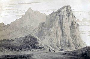 Bisotun - Mount Bi-Sutoun by Eugène Flandin