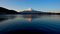 Mount Fuji as seen at sunrise across lake Kawaguchi, with Fujikawaguchiko town in the foreground. Honshu Island. Japan.jpg