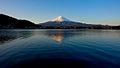 Mount Fuji as seen at sunrise across lake Kawaguchi, with Fujikawaguchiko town in the foreground. Honshu Island. Japan.jpg